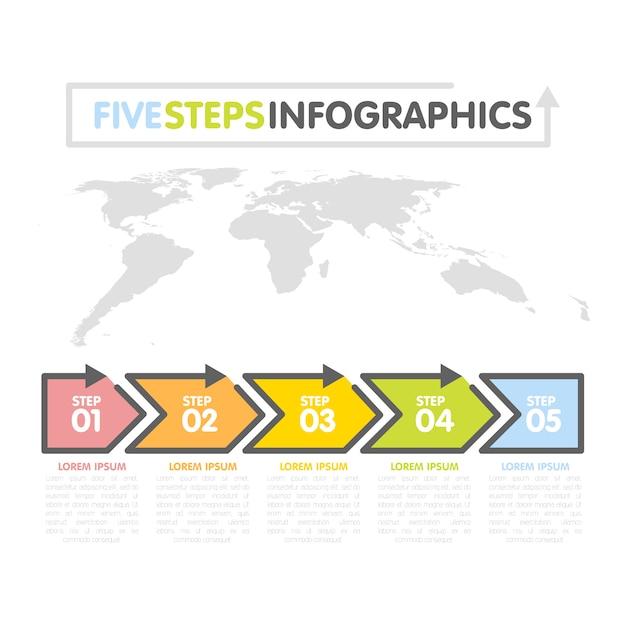 Business infografiken vorlage. zeitleiste mit 5 pfeilen, schritten, zahlenoptionen. weltkarte im hintergrund. vektorelement Premium Vektoren