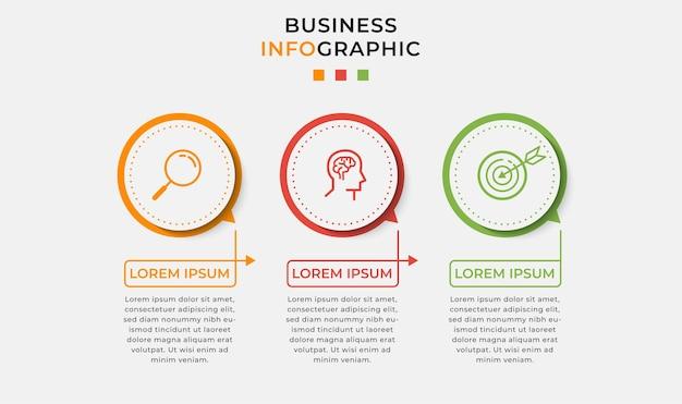 Business infographic designvorlage mit symbolen und 3 drei optionen oder schritten. Premium Vektoren