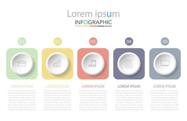 Business infographik vorlage. dünne linie mit fünf optionen oder schritten. Premium Vektoren