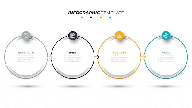 Business infographik vorlage mit 4 schritten Premium Vektoren