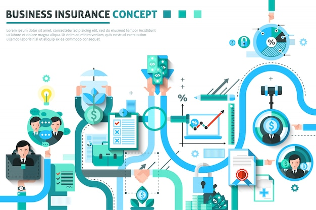 Business insurance konzept illustration Kostenlosen Vektoren