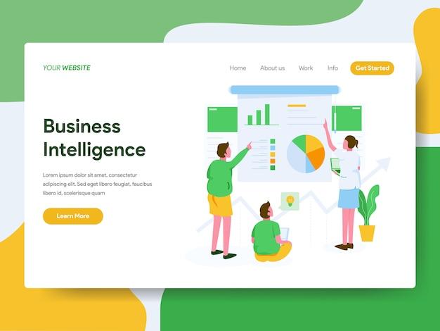 Business intelligence-illustrationskonzept. zielseite Premium Vektoren