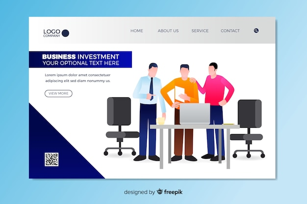 Business-investment-landing-page-vorlage Kostenlosen Vektoren
