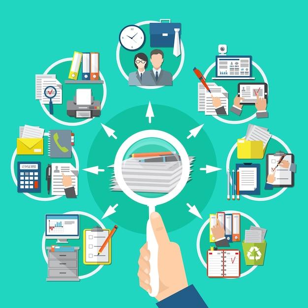 Business items runde komposition mit suche nach informationen auf dokumenten und papieren Kostenlosen Vektoren
