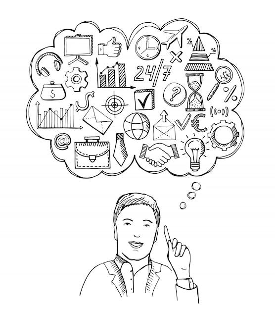 Business konzept abbildung. geschäftsmann mit verschiedenen dingen im auge. Premium Vektoren