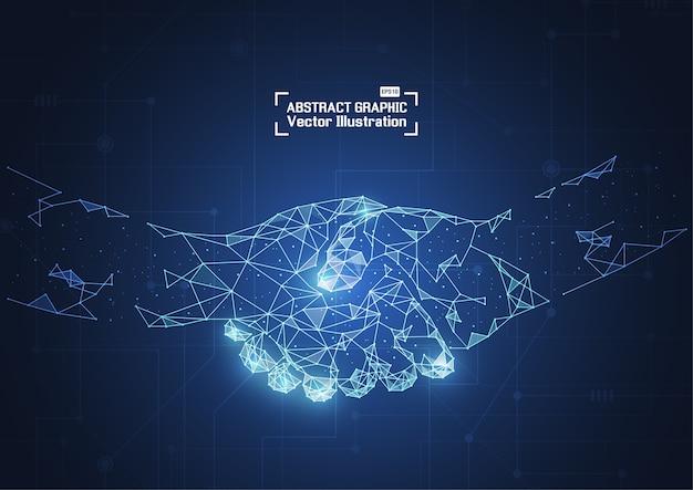 Business-konzept-handshake. abstrakte masche und punkte Premium Vektoren