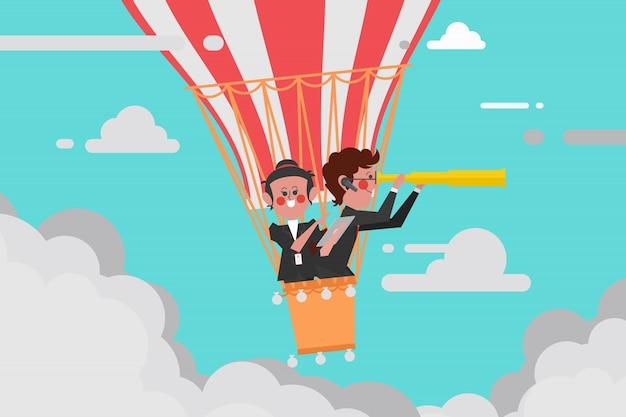 Business-konzept, teamleiter geschäft fliegen mit einem ballon mann-teleskop, frauen verwenden eine navigation tablet-computer, cartoon charakter design flachen stil Premium Vektoren