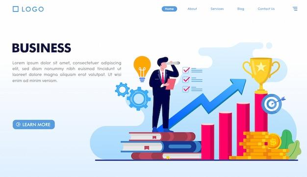 Business landing page vorlage Premium Vektoren