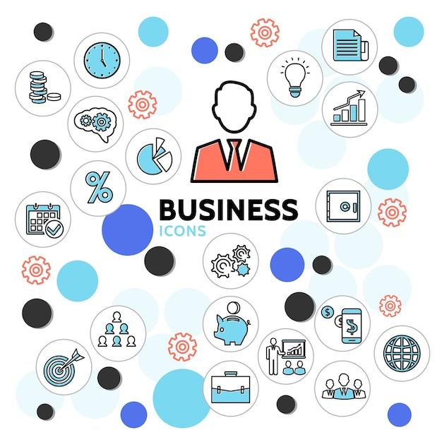 Business line icons sammlung mit uhr geschäftsmann diagramm kalender sichere glühbirne dokumente aktentasche Kostenlosen Vektoren