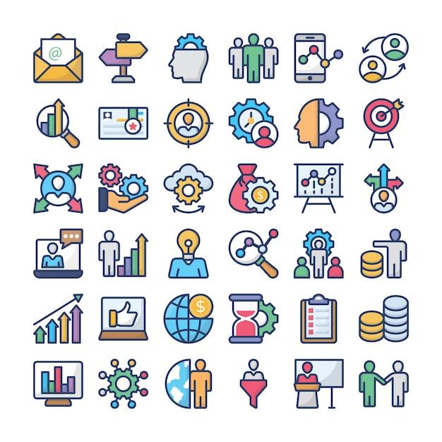 Business management icons pack Premium Vektoren