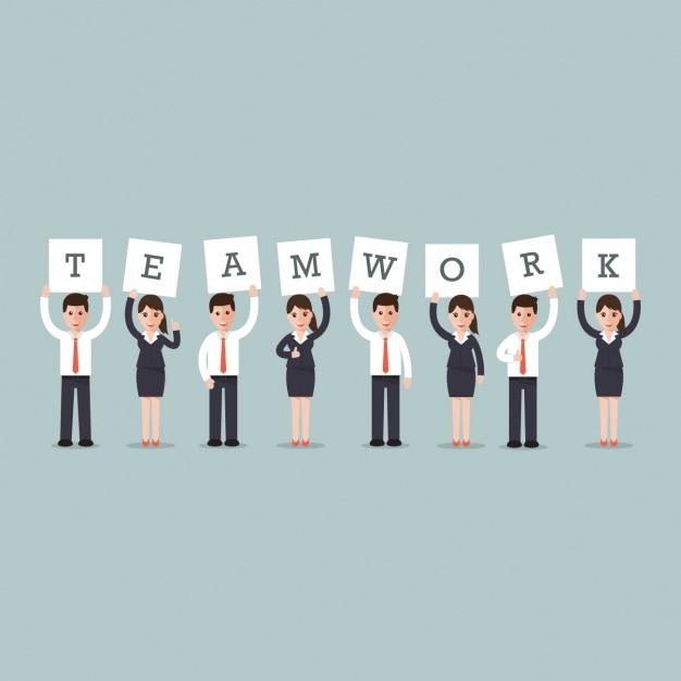 """Business-Männer und Frauen mit dem Wort """"Teamwork"""" Kostenlose Vektoren"""