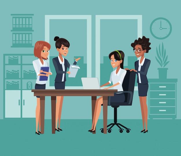 Business-mitarbeiter cartoons Premium Vektoren