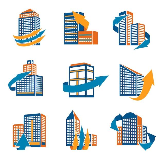 Business modernen städtischen bürogebäude mit pfeilen icons isoliert vektor-illustration Kostenlosen Vektoren