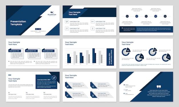 Business-präsentation mit infografik-elementen Premium Vektoren