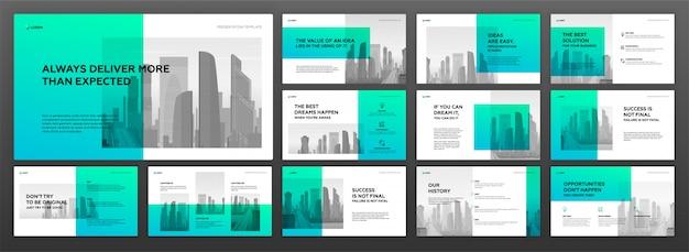 Business präsentation powerpoint-vorlagen festgelegt Premium Vektoren