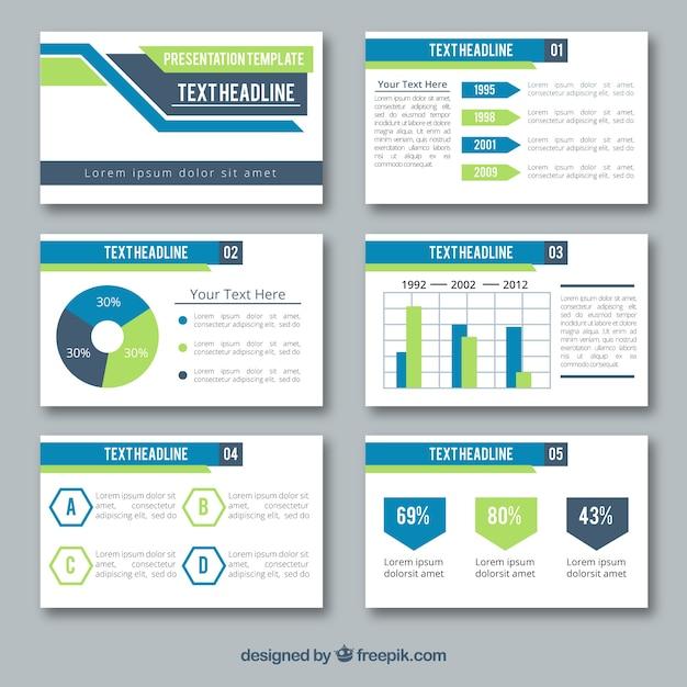 Business-präsentationsvorlage in flachen stil Kostenlosen Vektoren