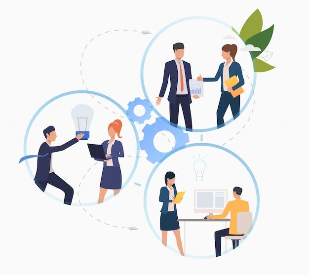 Business-profis arbeiten am start Kostenlosen Vektoren