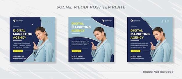 Business promotion und corporate social media banner vorlage oder square flyer Premium Vektoren