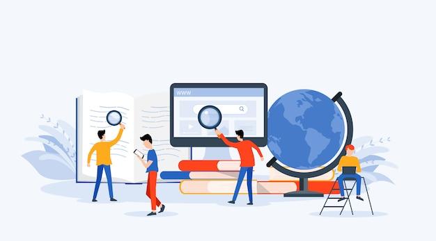 Business research, lernen und online-bildungskonzept Premium Vektoren