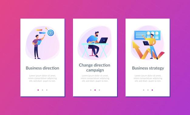 Business richtung app interface-vorlage Premium Vektoren