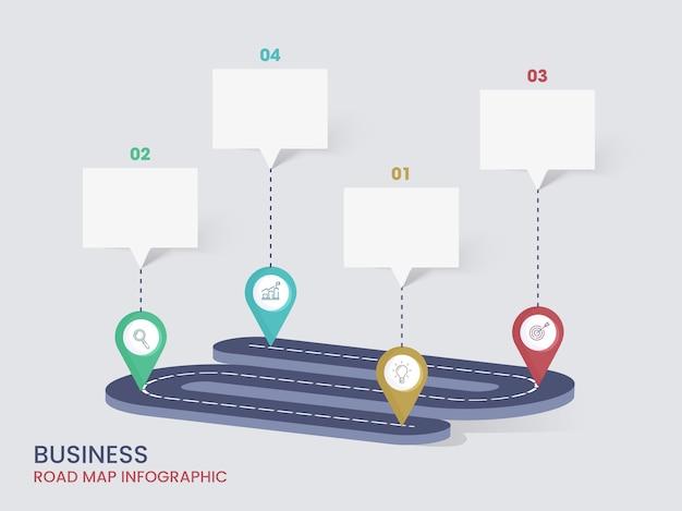 Business road map infografik-layout mit schritten und leerem chat-feld für ihren text. Premium Vektoren