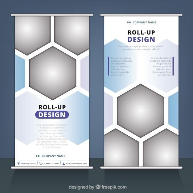 Business-Roll-up mit geometrischen Figuren Kostenlose Vektoren