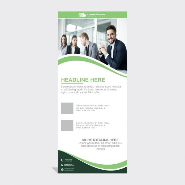 Business-Roll-up mit grünen Wellenformen Kostenlose Vektoren