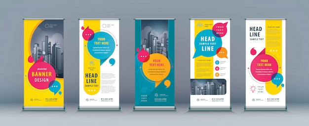 Business roll up set, standee banner vorlage Premium Vektoren