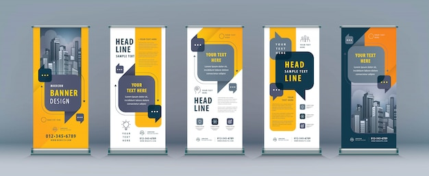 Business roll up set, standee banner vorlage Premium Vektoren