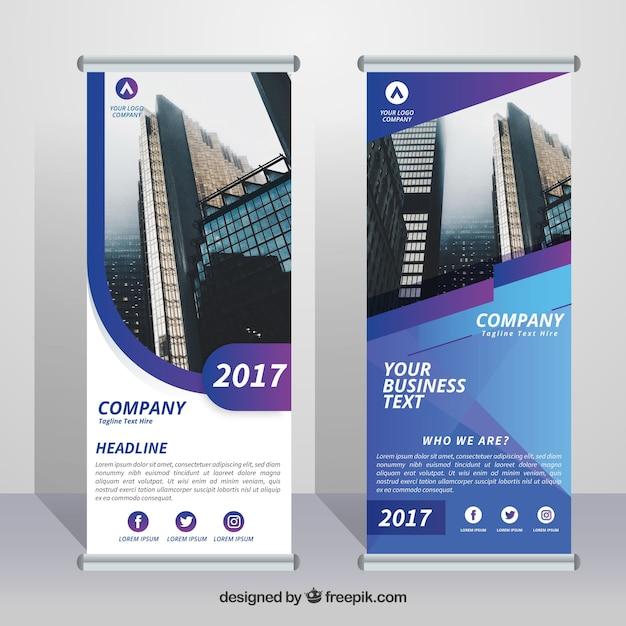 Business rollen mit formen in blau und lila töne Premium Vektoren