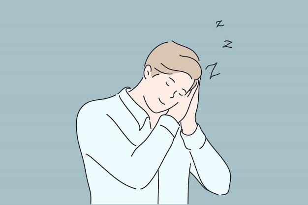 Business, schlaf, müdigkeit, schlaflosigkeit konzept Premium Vektoren