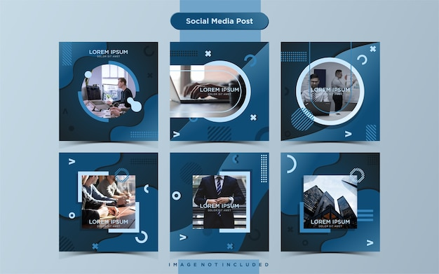 Business social media post design template sammlung Premium Vektoren