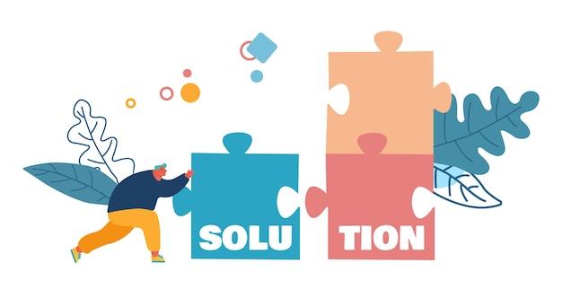 Business task solution, kompromiss- und problemlösungskonzept. Premium Vektoren