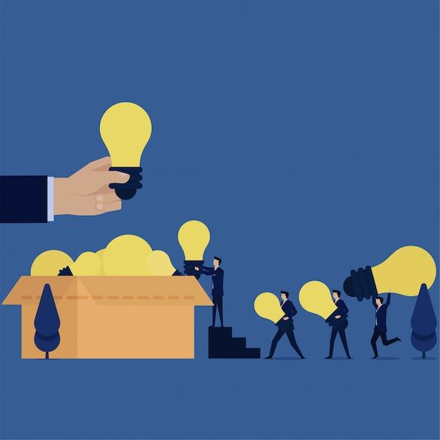 Business-team bringen ideen zu box-metapher der bestrebungen. Premium Vektoren