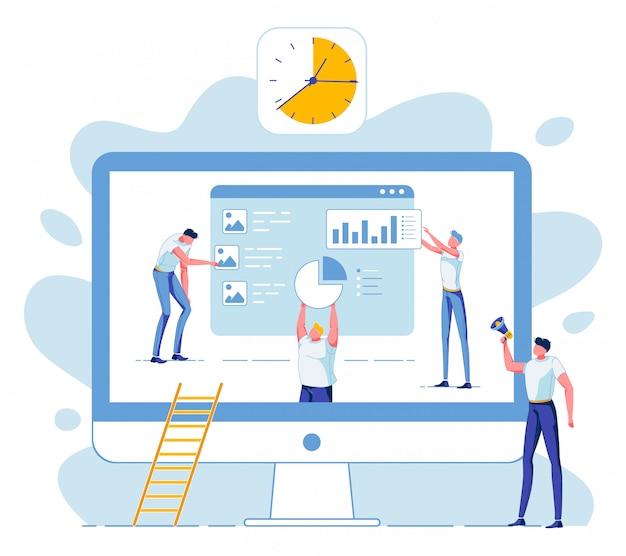 Business-team, statistische datenanalyse, frist Premium Vektoren