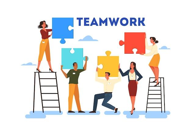 Business-teamwork-konzept. idee der partnerschaft und zusammenarbeit. verbindung und kommunikation. puzzle als metapher der einheit und lösung. Premium Vektoren