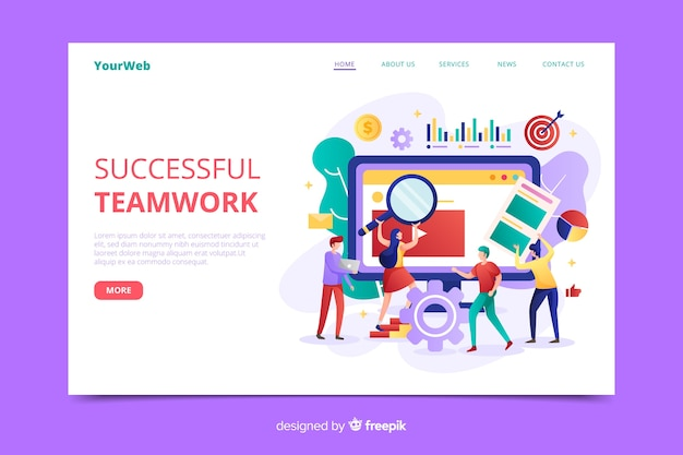 Business teamwork landing page vorlage Kostenlosen Vektoren