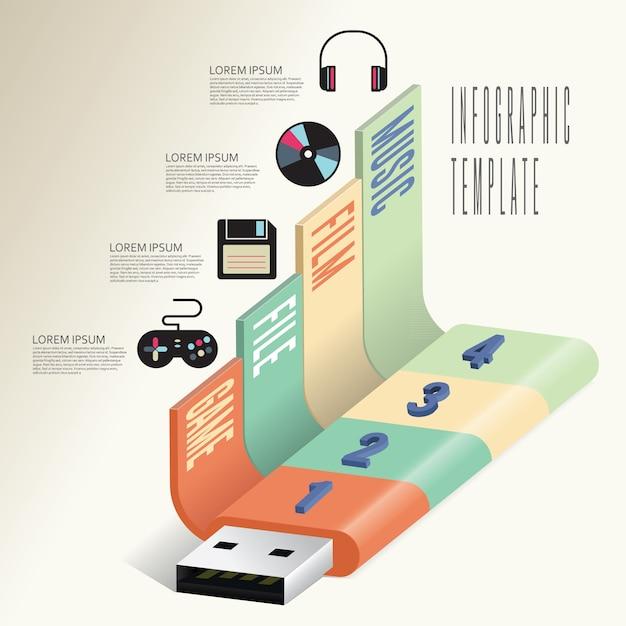 Business-technologie info-grafikvorlage Premium Vektoren