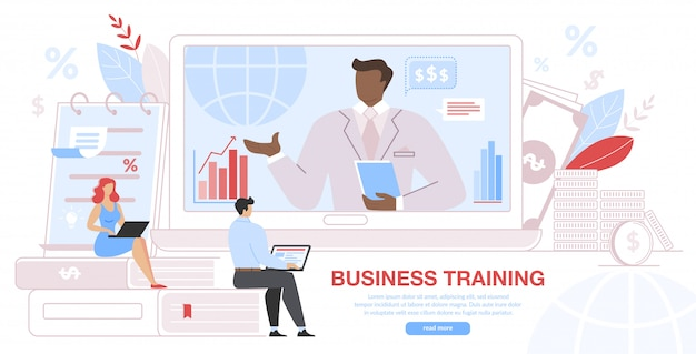 Business training event, fernunterricht für unternehmen Premium Vektoren