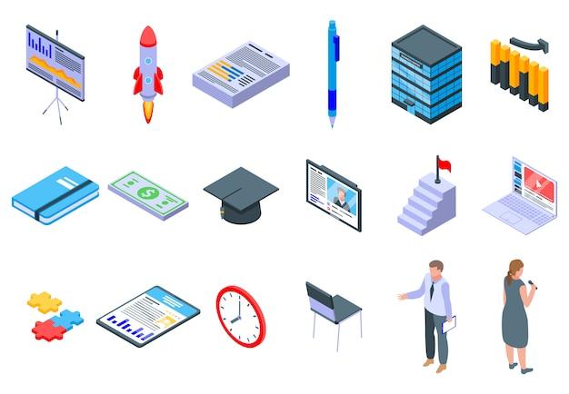 Business training icons eingestellt Premium Vektoren
