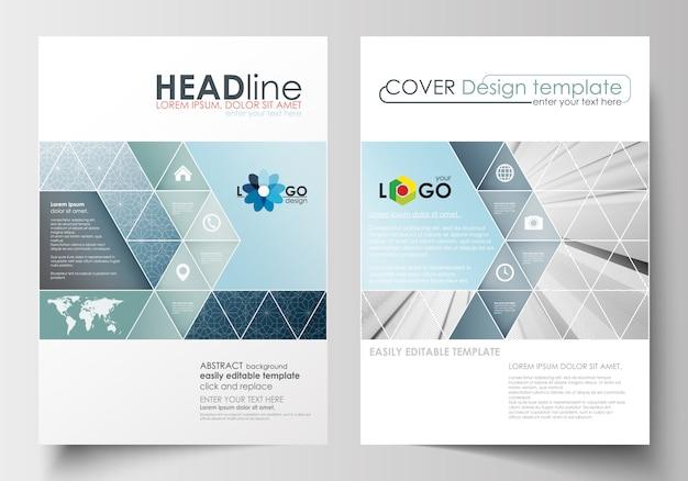 Business-vorlagen für broschüre, flyer, bericht. Premium Vektoren