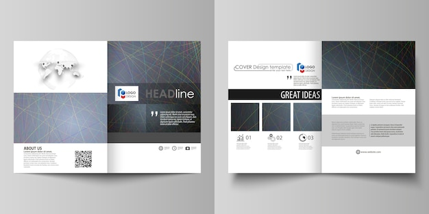 Business-vorlagen für die bi-fold-broschüre Premium Vektoren