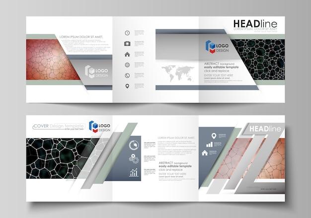Business-vorlagen für dreifach gefaltete quadratische designbroschüre. Premium Vektoren