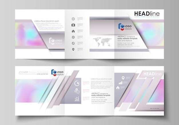 Business-vorlagen für dreifach gefaltete quadratische designbroschüren Premium Vektoren