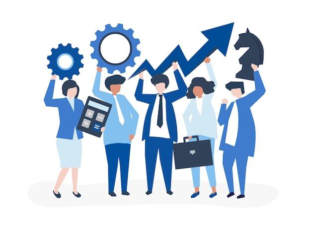 Business-wachstum und strategie-konzept-illustration Kostenlosen Vektoren