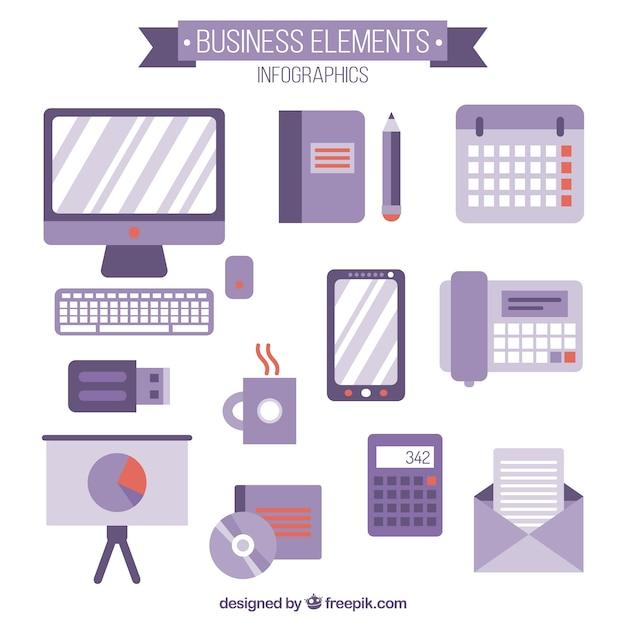 Business-zubehör in flaches design Kostenlosen Vektoren