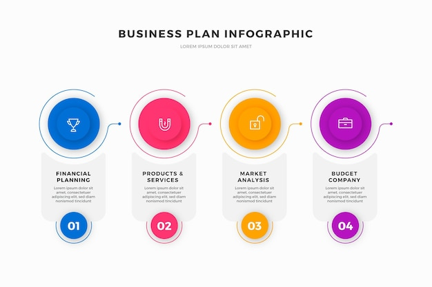 Businessplan-infografiken Premium Vektoren