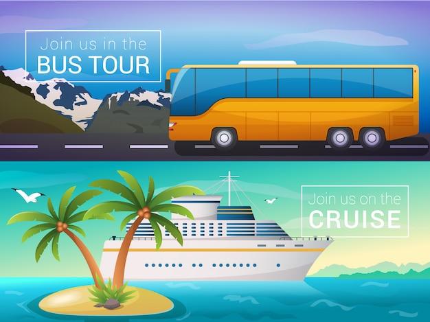 Bustour in die alpen, hochseekreuzfahrtschiff auf den inseln Premium Vektoren