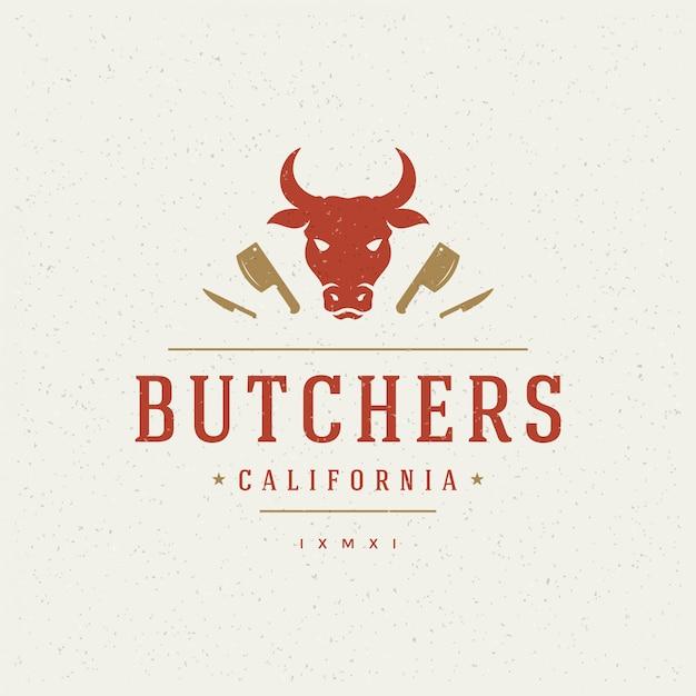 Butcher shop design element im vintage-stil für logotype Premium Vektoren