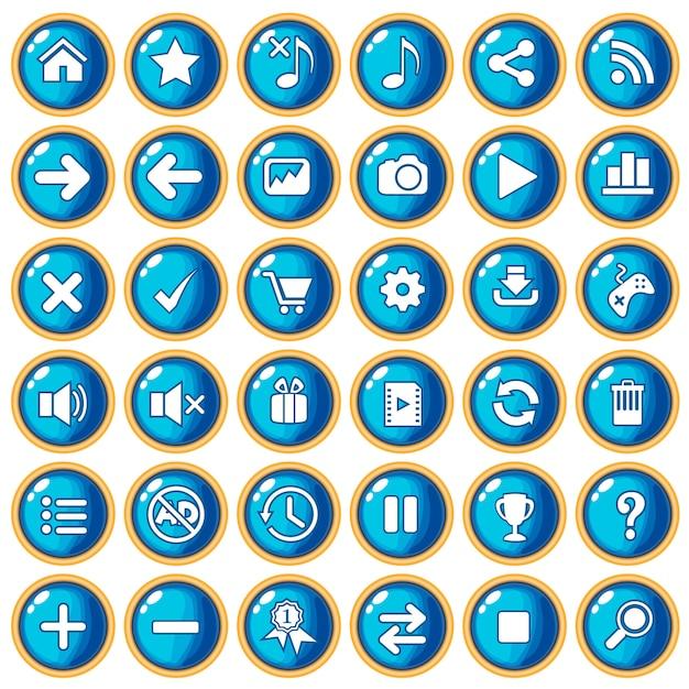 Button farbe blau rand gold für spielstil kunststoff. Premium Vektoren